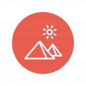 Mountain and sun thin line icon