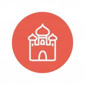 Mosque thin line icon for web and mobile minimalistic flat design Vector white icon inside the red circle