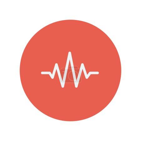 Illustration pour Sound wave bat l'icône de ligne mince pour le design plat minimaliste web et mobile. Icône vectorielle blanche à l'intérieur du cercle rouge - image libre de droit