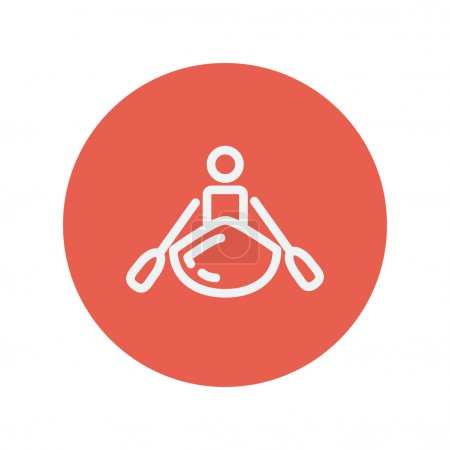 Man doing kayaking thin line icon