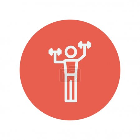 Boy in weight training thin line icon