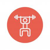 Weightlifter man with barbell thin line icon for web and mobile minimalistic flat design Vector white icon inside the red circle
