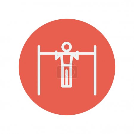 Pull up exercise in a bar thin line icon