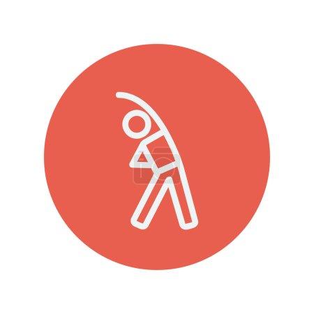 Illustration pour Homme faire étirement mince icône de ligne pour le web et mobile design plat minimaliste. Icône vectorielle blanche à l'intérieur du cercle rouge - image libre de droit