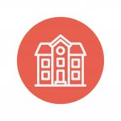 Two storey house building thin line icon