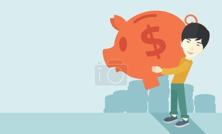 Chinese businessman carries a big piggy bank for saving money.