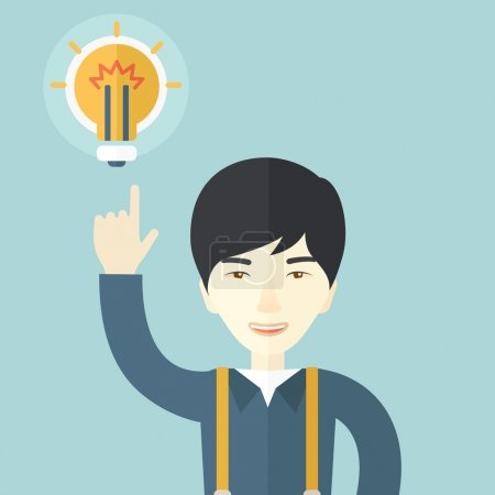 Illustration for A happy asian guy raising his hand pointing the bulb having a good idea for business. Business concept. A Contemporary style with pastel palette, soft blue tinted background. Vector flat design - Royalty Free Image