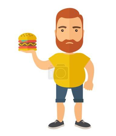 Hamburger and a man