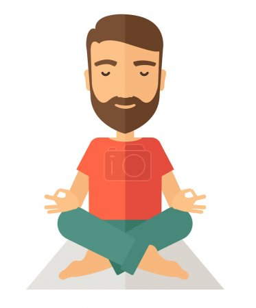 Illustration for A hipster man doing yoga. A Contemporary style. Vector flat design illustration isolated white background. Vertical layout - Royalty Free Image