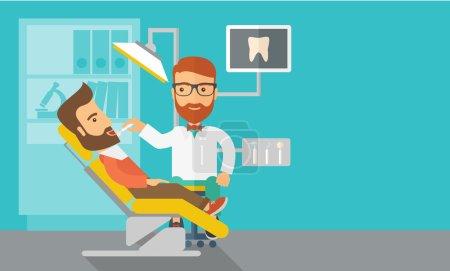 Illustration pour Un dentiste caucasien examine les dents d'un patient à la clinique. Style contemporain avec palette pastel, fond bleu teinté. Illustrations vectorielles de design plat. Mise en page horizontale avec espace de texte dans - image libre de droit