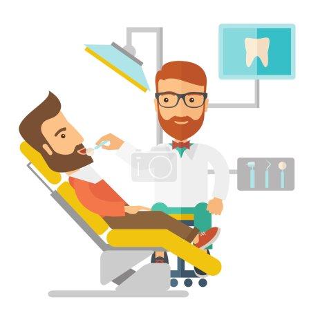 Illustration pour Un dentiste caucasien examine les dents d'un patient à la clinique. Un style contemporain. Illustration vectorielle plan isolé fond blanc. Aménagement carré - image libre de droit