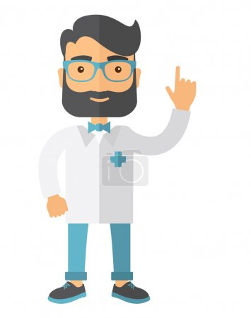 Illustration pour Un heureux médecin caucasien vêtu d'un blouse blanche. Un style contemporain. Illustration vectorielle plan isolé fond blanc. Mise en page verticale - image libre de droit