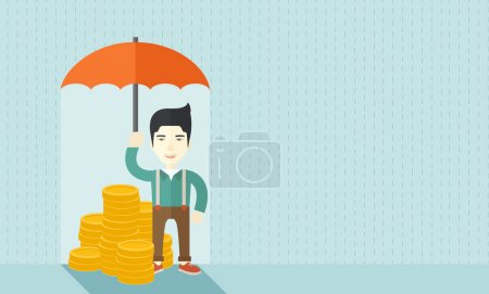 Illustration for A chinese businessman standing holding umbrella protecting his money to investments, money management. Saving money for any financial crisis will come. Saving concept. A contemporary style with pastel - Royalty Free Image