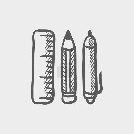 School supplies sketch icon