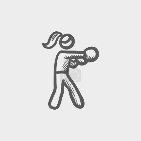 Female boxer sketch icon