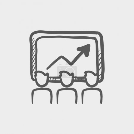 Businees growth sketch icon