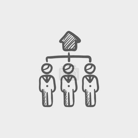 Three agent in one house sketch icon