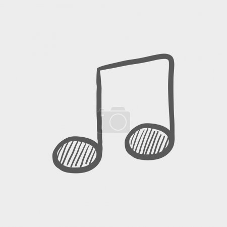 Music note sketch icon