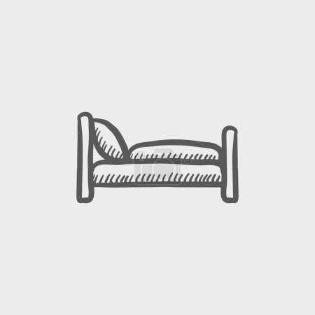 Illustration for Bed sketch icon for web and mobile. Hand drawn vector dark grey icon on light grey background - Royalty Free Image