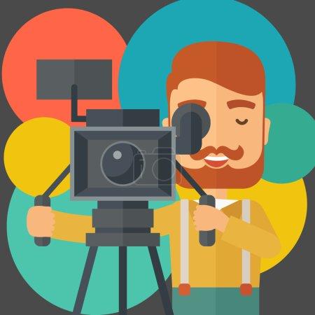 Illustration pour Un vidéaste caucasien prenant une vidéo. Un style contemporain avec une palette pastel noir teinté et fond rond coloré. Illustration vectorielle de design plat. Aménagement carré - image libre de droit