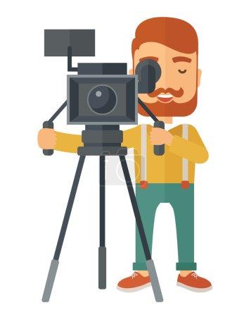 Illustration pour Un vidéaste caucasien prenant une vidéo. Un style contemporain. Illustration vectorielle plan isolé fond blanc. Mise en page verticale - image libre de droit