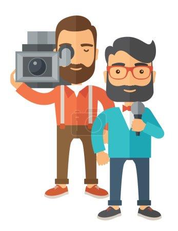 Illustration pour Journaliste caucasien professionnel et reporter d'information avec caméra vidéo et microphone. Un style contemporain. Illustration vectorielle plan isolé fond blanc. Mise en page verticale - image libre de droit