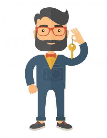 Illustration for A Businessman standing while holding a Golden key. A Contemporary style. Vector flat design illustration isolated white background. Vertical layout - Royalty Free Image
