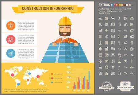 Illustration pour Modèle et éléments infographiques de construction. Le modèle comprend des illustrations d'hommes hipster et un énorme ensemble impressionnant d'icônes de ligne mince. Design vectoriel plat minimaliste moderne - image libre de droit