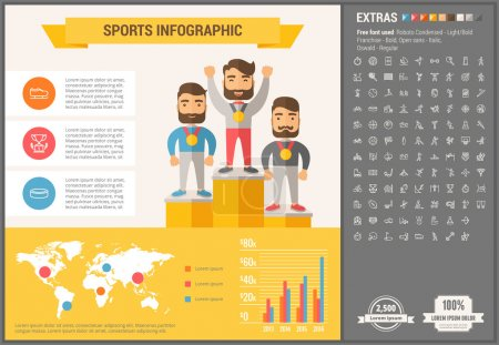Sports infographic template and elements. The temp...