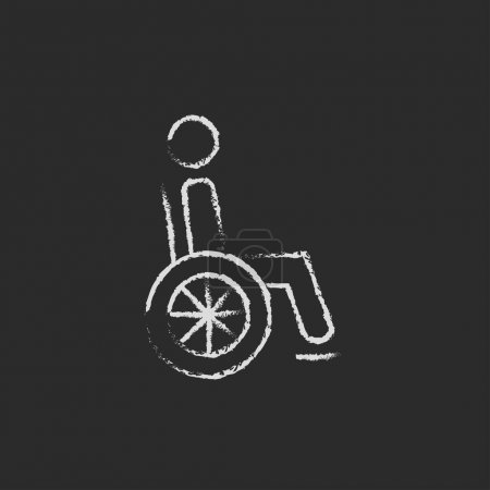 Disabled person icon drawn in chalk.