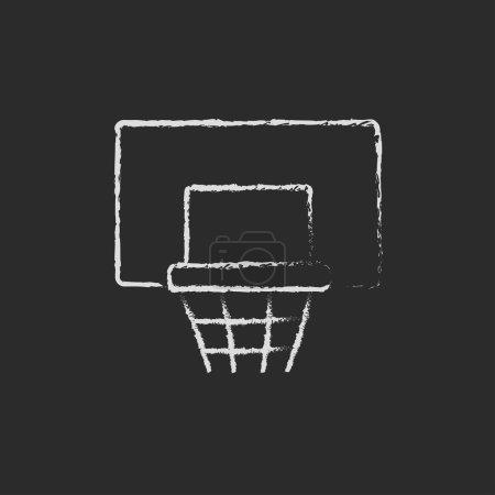 Basketball hoop icon drawn in chalk.