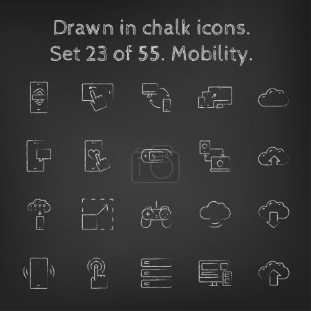Mobility icon set drawn in chalk.