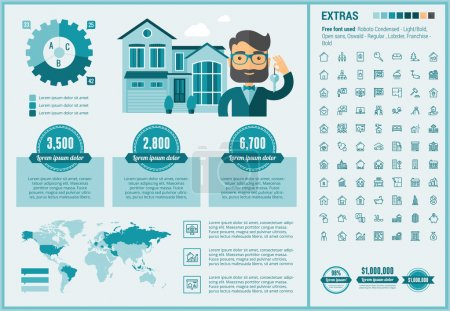 Illustration for Real Estate infographic template and elements. The template includes illustrations of hipster men and huge awesome set of thin line icons. Modern minimalistic flat vector design - Royalty Free Image