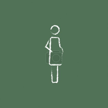 Illustration for Pregnant woman hand drawn in chalk on a blackboard vector white icon isolated on a green background - Royalty Free Image