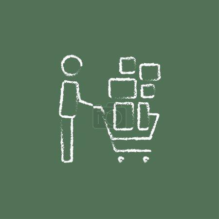 Man pushing shopping cart icon drawn in chalk.