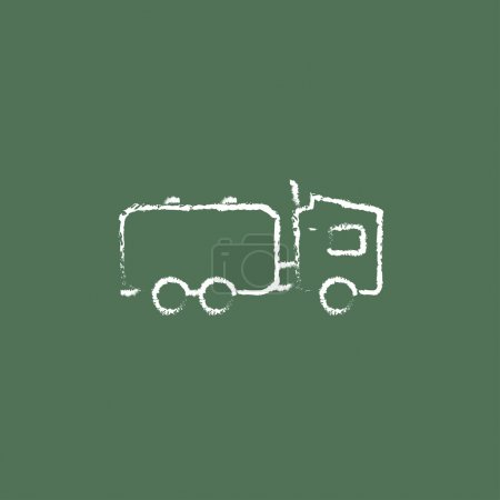 Truck liquid cargo icon drawn in chalk.