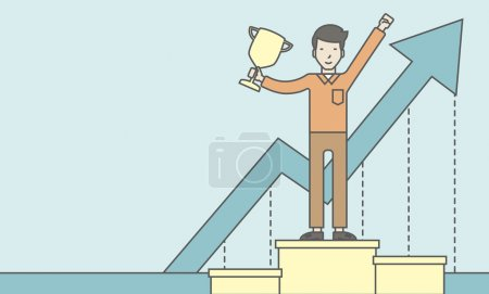 Illustration for An asian businessman standing on the winning podium with trophy and arrow pointing upward as his success. Cheerful winner and leader concept. Vector line design illustration. Horizontal layout with a - Royalty Free Image