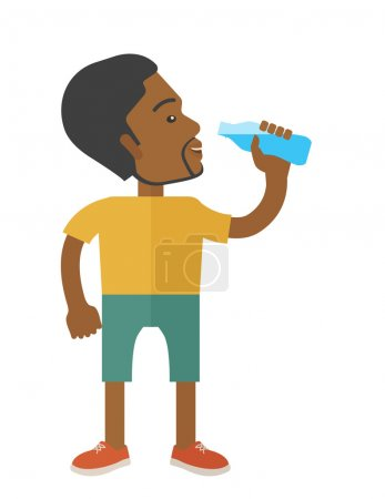 Man drinking water.