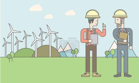 Illustration pour Deux hommes en casque avec une tablette dans les mains sur un fond avec des panneaux solaires et des éoliennes. Illustration vectorielle. Mise en page horizontale avec un espace texte pour un message sur les médias sociaux - image libre de droit