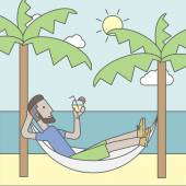 A caucasian hipster man with beard chilling in hammock at seashore with a cocktail in a hand Vector line design illustration Square layout