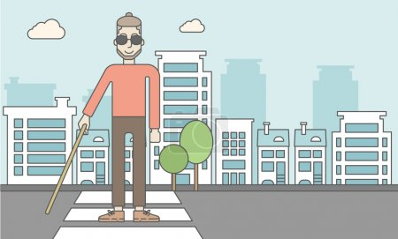 Illustration for A caucasian blind hipster man in dark glasses with a stick walking on a pedestrian crossing. Vector line design illustration. Horizontal layout with a text space for a social media post - Royalty Free Image