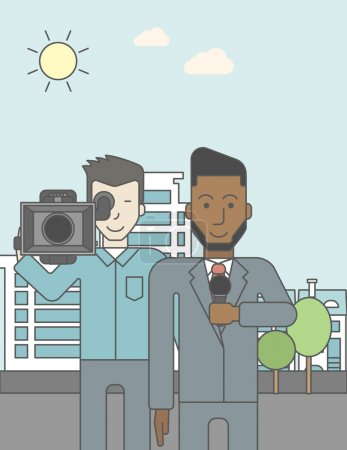 Illustration for An asian cameraman filming an african-american reporter with beard on a city backgroung. Vector line design illustration. Vertical layout with a text space for a social media post - Royalty Free Image