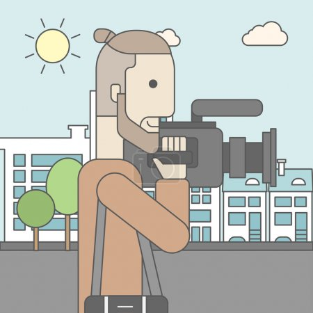 Illustration for A caucasian hipster cameraman with video camera taking a video on a city backgroung. Vector line design illustration. Square layout - Royalty Free Image