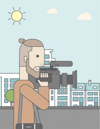 Illustration for A caucasian hipster cameraman with video camera taking a video on a city backgroung. Vector line design illustration. Vertical layout with a text space for a social media post - Royalty Free Image