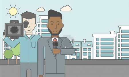 Illustration for An asian cameraman filming an african-american reporter with beard on a city backgroung. Vector line design illustration. Horizontal layout with a text space for a social media post - Royalty Free Image