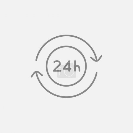 Illustration for Service 24 hrs line icon for web, mobile and infographics. Vector dark grey icon isolated on light grey background - Royalty Free Image
