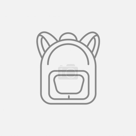 Illustration for Backpack line icon for web, mobile and infographics. Vector dark grey icon isolated on light grey background - Royalty Free Image
