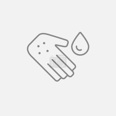 Hand with microbes and water drop line icon for we...