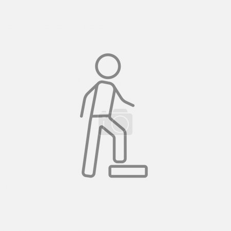 Illustration for Man doing step exercise line icon for web, mobile and infographics. Vector dark grey icon isolated on light grey background - Royalty Free Image