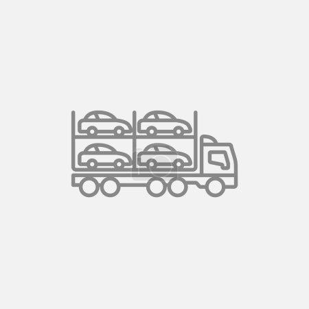 Illustration pour Icône de ligne de transporteur de voiture pour le web, mobile et infographie. Icône vectorielle gris foncé isolée sur fond gris clair - image libre de droit